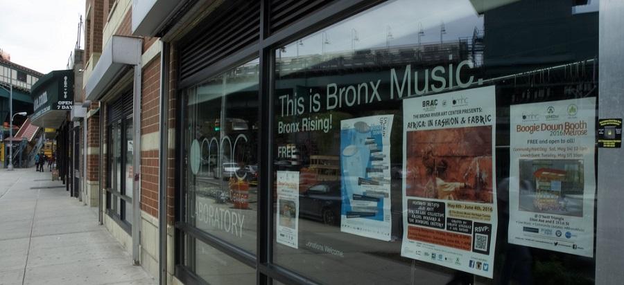 Window display at Bronx Music Heritage Center Lab