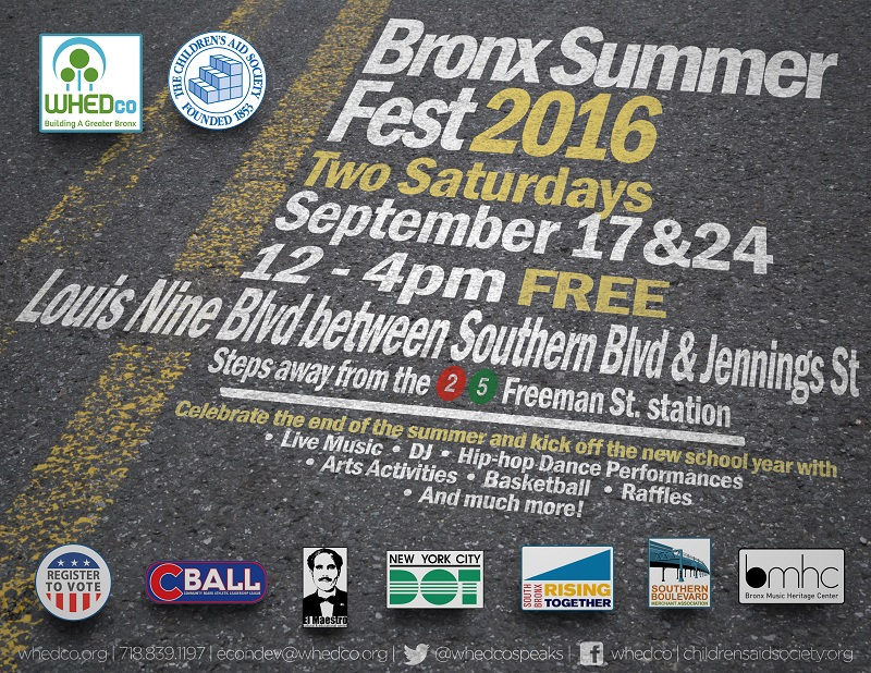 Flyer for Bronx Summer Fest 2016