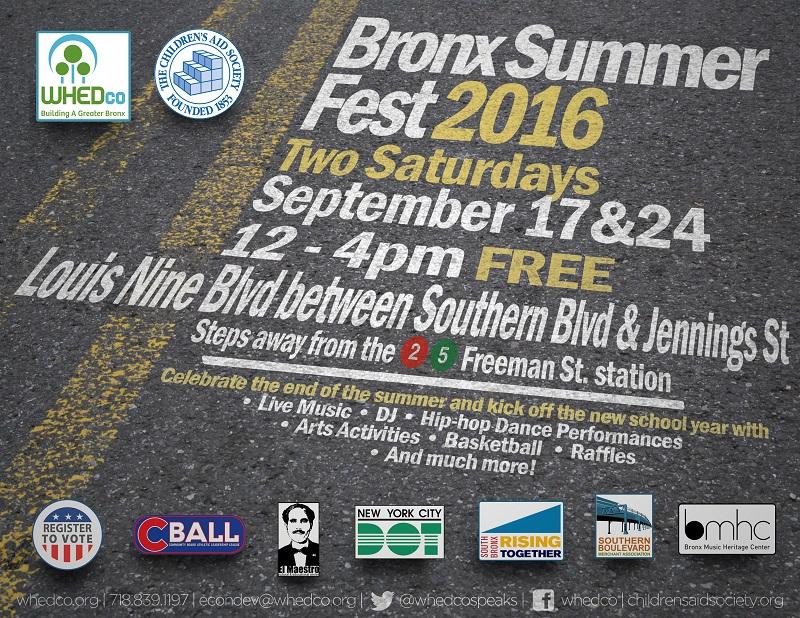 Flyer for Bronx Summer Fest 2016