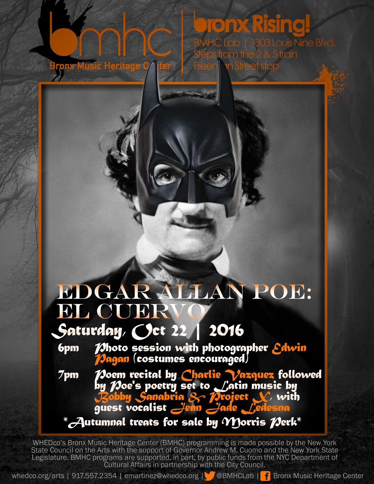 Flyer for October Bronx Rising, Edgar Allan Poe, at Bronx Music Heritage Center lab.