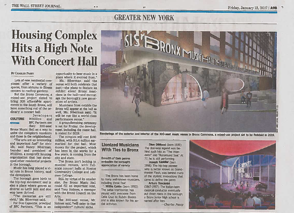 01-13-2017 Wall Street Journal_Housing Complex Hits a High Note with Concert Hall