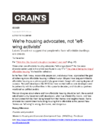 09-08-2017 Crains_Were housing advocates not left-wing activists